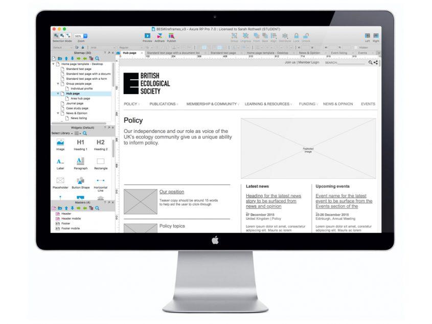 British Ecological Society website design wireframes