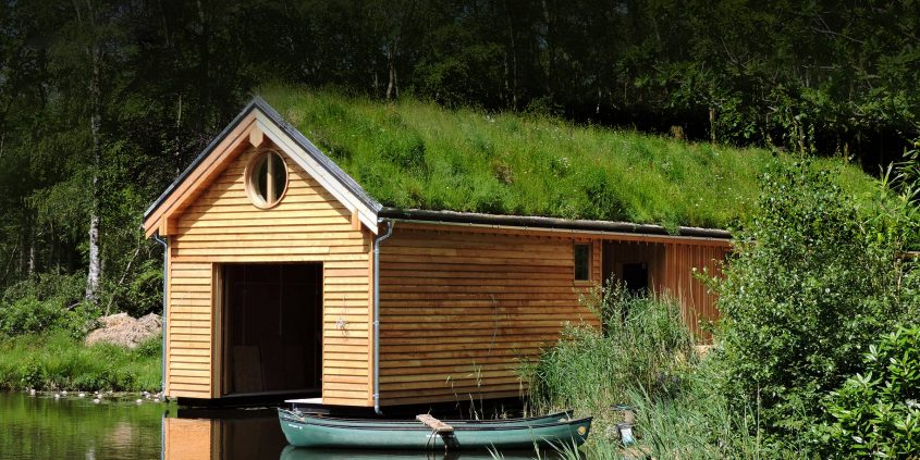 Organic Roofs, green roof on boat house